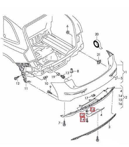 Neuf D/'Origine Audi Volkswagen Pare-Chocs Arrière Remorquage Housse Clips