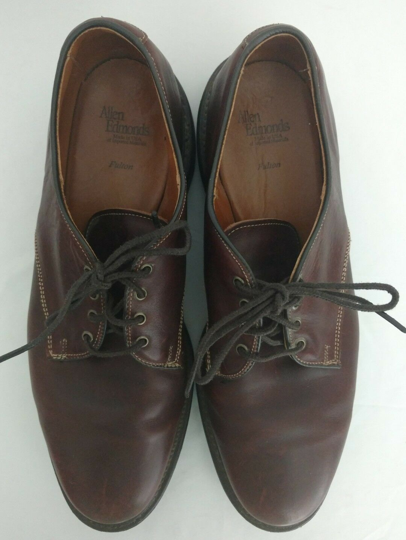 Allen Edmonds Fulton Oxford Dress Shoes 11 D Brown Leather Lace Up Plain Toe Scarpe classiche da uomo