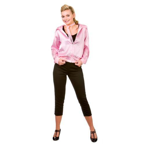 Femmes 50 S en satin Rose Veste Rock N Roll T bird costume robe Fantaisie Taille UK 6-24