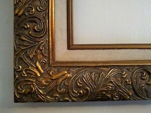 Vintage-Gold-Wood-and-Gesso-14x19-Ornate-Baroque-Picture-Frame-w-Linen-Inset