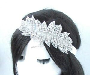 Silver White Diamante Headpiece Headband 1920s Flapper Great Gatsby Vintage 4831