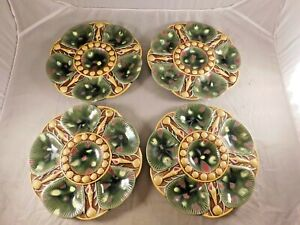 LOT-OF-4-ANTIQUE-MAJOLICA-OYSTER-SHELL-PLATES