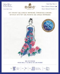 DMC-Baile-Vestidos-Moda-Ilustracion-Impreso-Cross-Stitch-Kit-BK1793-Rosa-Bola