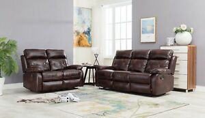 Double Reclining Sofa And Loveseat Brown Bonded Leather Living