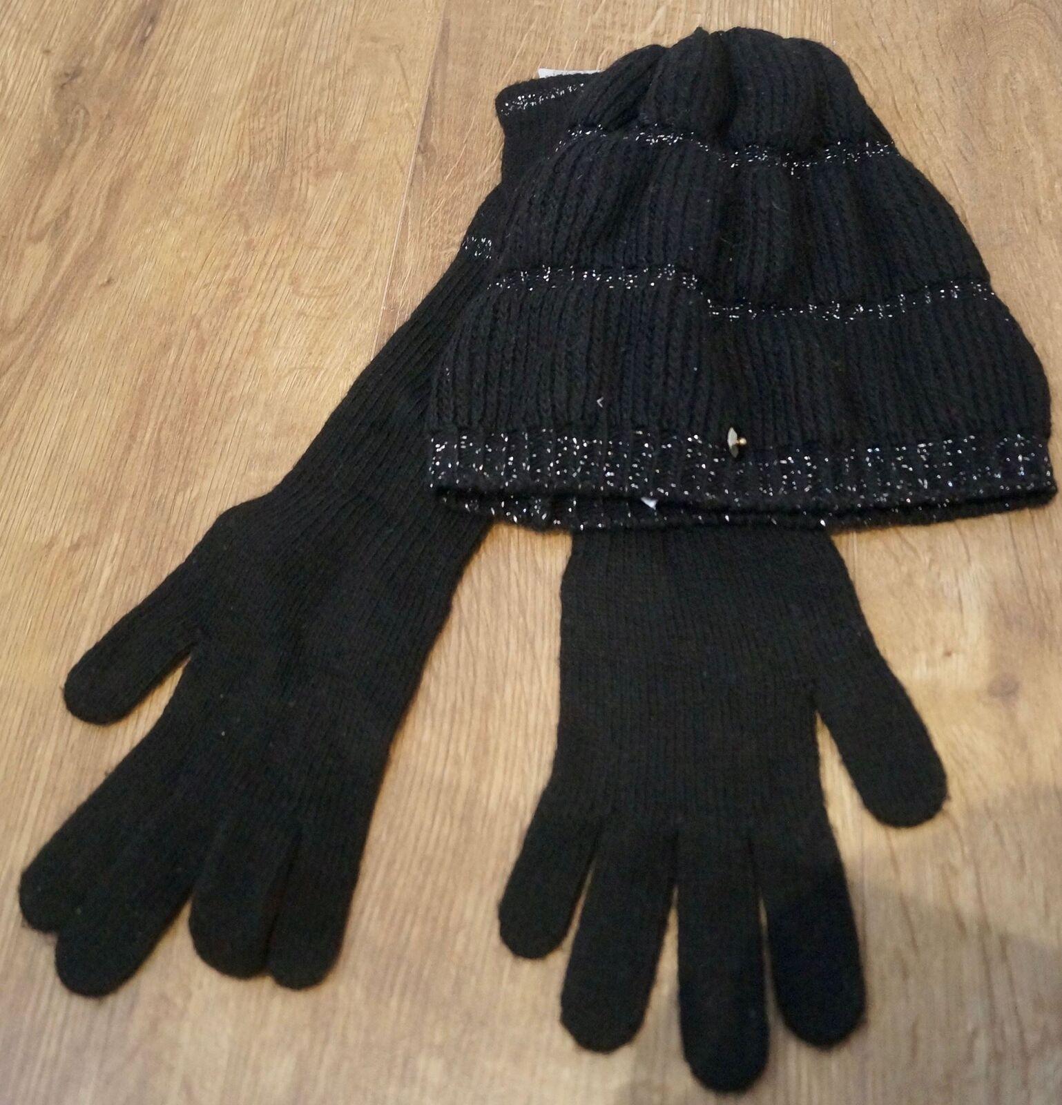 PINKO Black & Silver Sparkle Wool Blend Pull On Beanie Hat & Long Length Gloves