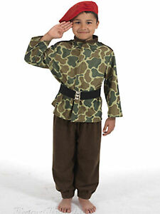 Kids-Army-Costume-Commando-Soldier-Camouflage-Boys-Red-Cap-Childs-Uniform