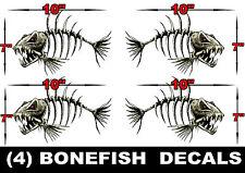 4 LARGE BONEFISH BONE FISH FOR SKEETER RANGER LUND FISHING BASS BOAT DECALS