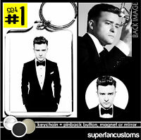 Justin Timberlake Keychain + Button Or Magnet Or Mirror Suit & Tie And Pin 1508