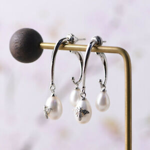 I05-Earring-Sterling-Silver-925-White-Freshwater-Pearls-With-Butterfly