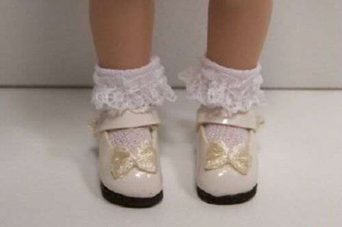 CREAM Patent Mary Jane Doll Shoes w/Satin Bow For Helen Kish Riley (Debs)