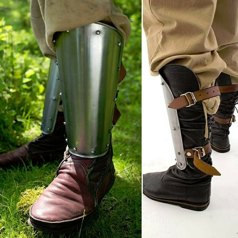 Polished Steel Warrior Greaves Shin Armour for Costume, Re-enactment & LARP