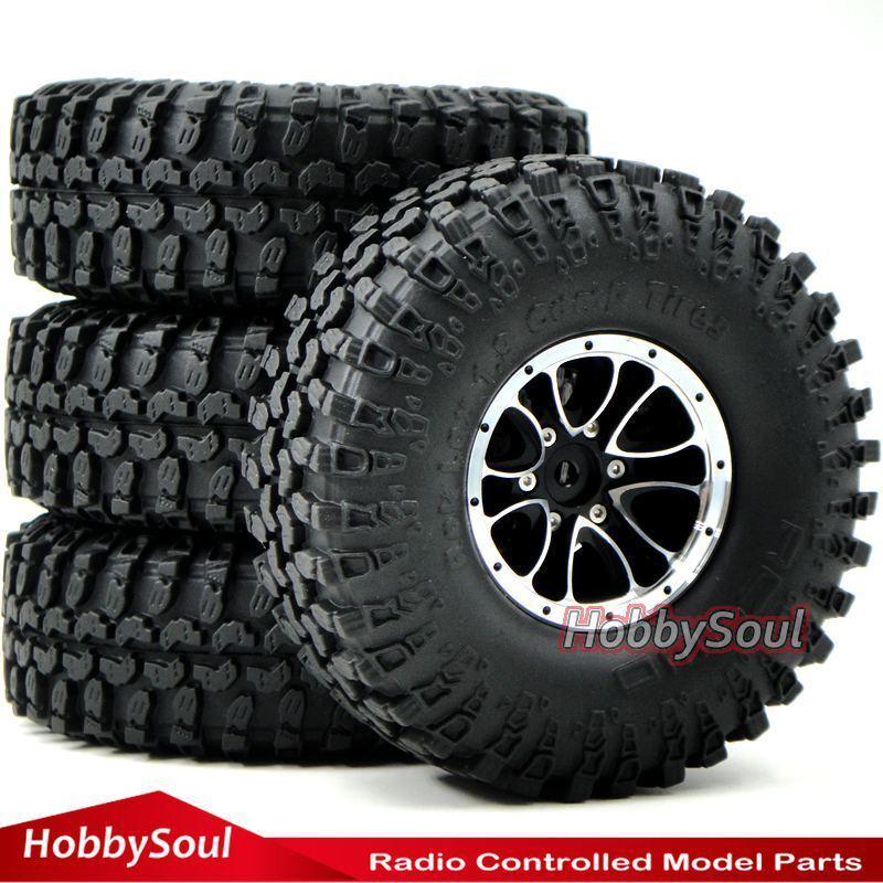 4 un. RC Crawler 1.9  alumbre beadlock Rines Ruedas y 1.9 Crawler Neumáticos Neumáticos 114mm