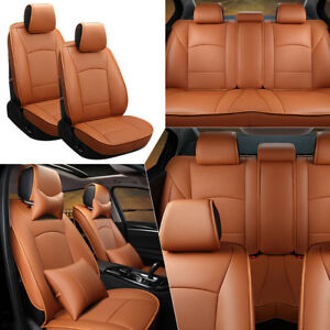 Brown 5-Seats Car Seat Cover Front /& Rear PU Leather For Ford F-150 2010-2018 US