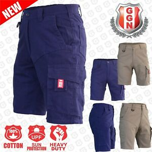 Cargo-Shorts-Mens-Work-Wear-Cotton-Drill-UPF-50-13-pockets-Modern-Fitting