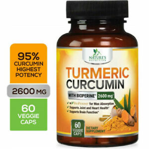 Nature's Nutrition Turmeric Curcumin 2600 MG with Bioperine 60 Veg Cap