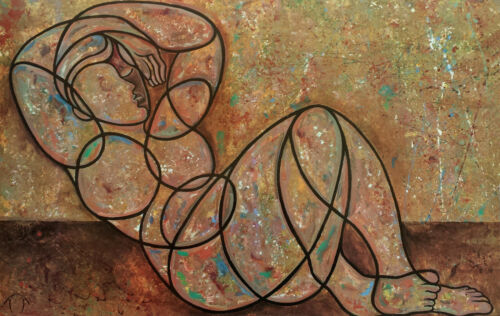 """African American Art /""""Reclining Male/"""" Abstract Figurative by Anthony Armstrong"""