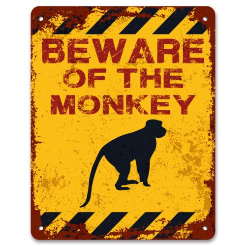 Fai attenzione della scimmiaCortile Da Giardino in Metallo Vintage cartello di avvertimento cautela segno