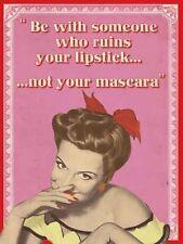 Lipstick Mascara, Makeup 50's-60's Retro Pinup Girl Funny Small Metal/Tin Sign