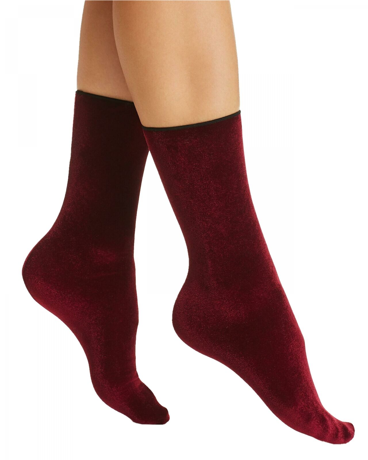 Currant HUE Womens Velvet Crew Socks Burgundy .ONE SIZE.IDEAL Christmas PRESENT