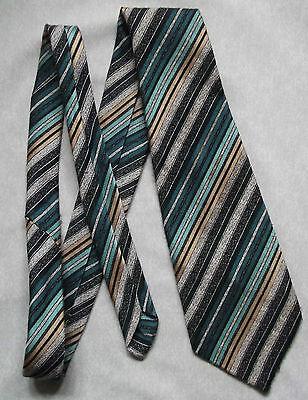 Vintage Tootal Cravatta Da Uomo Cravatta Larga Verde Moda Retrò Crema A Righe-mostra Il Titolo Originale