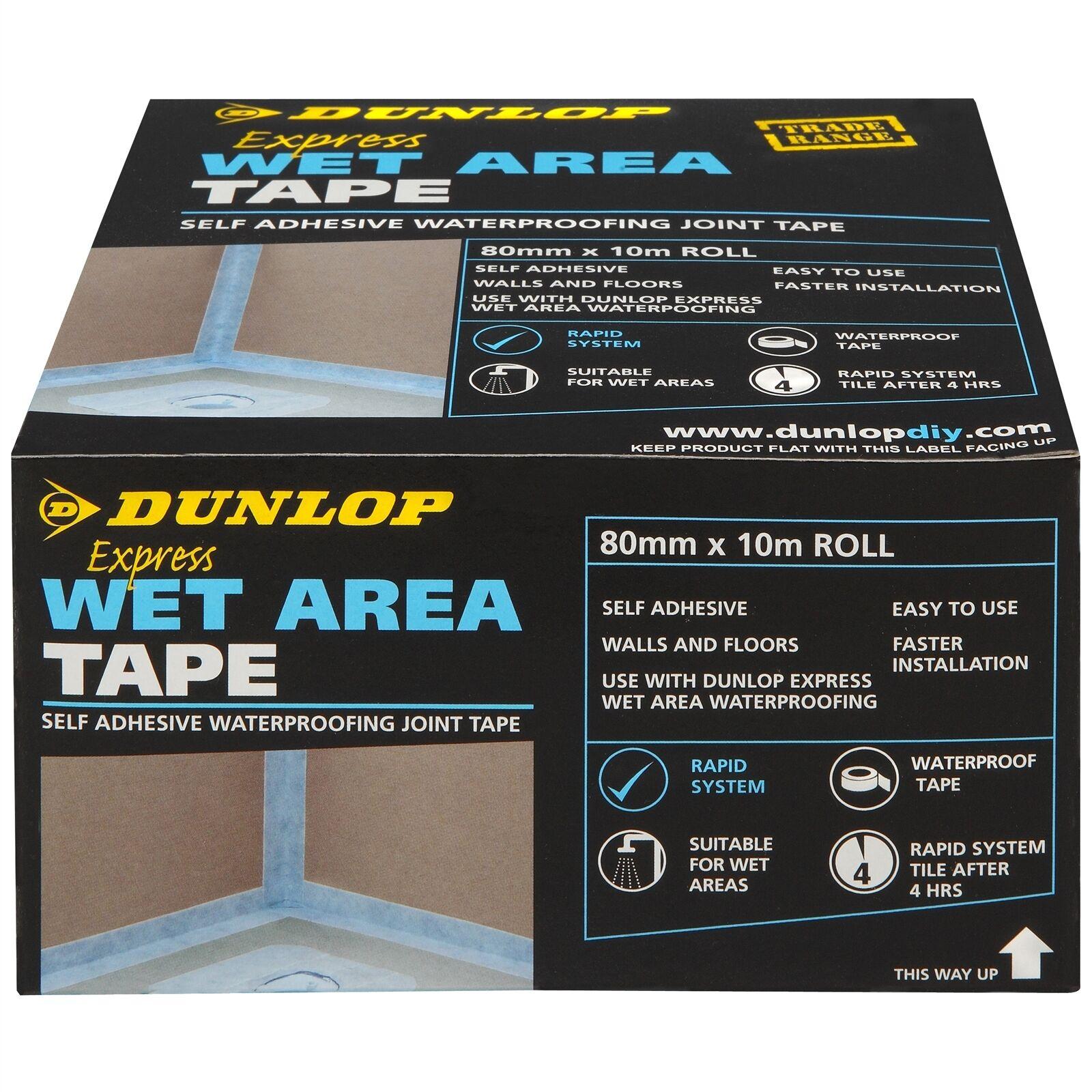 Dunlop EXPRESS WET AREA TAPE 80mmx10m Self-Adhesive Sealing USA Brand