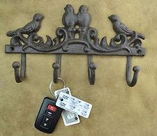 Cast Iron Key Holder Rack Hook Hanging Chirping Birds Hanger Wall Decor Vintage