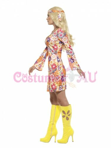 Ladies Flower Hippie 60s 70s Costume 1960s Retro Groovy Hippy Disco Fancy Dress