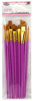 Delicious Royal & Langnickel Pink Art Golden Taklon Brush Set Cheapest Price From Our Site pack Of 10