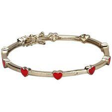 Red Enamel Heart Gold Tone Bangle Cuff Bracelet 50 mm