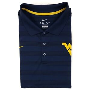 3XL-Nike-Polo-Shirt-WVU-WV-Navy-Blue-Striped-West-Virginia-Swoosh-Dri-Fit-Mens