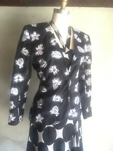 UNGARO ter Black Cotton White Embroidered Fruit Floral Blazer Jacket 6 40 Summer