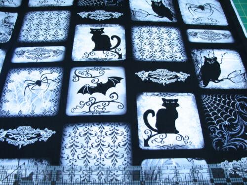 Benartex Kanvas Halloween Scenic Patch Black White Gray 1 Yard Cotton Fabric