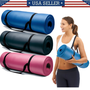 Yoga-Mats-0-375-inch-10mm-Thick-Exercise-Gym-Mat-Non-Slip-With-Carry-Straps