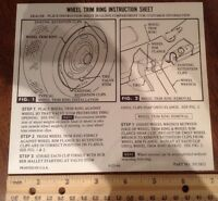 Chevrolet Gm Rally Wheel Trim Ring Instruction Sheet For The Glovebox