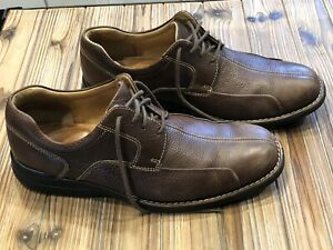 Johnston-amp-Murphy-Shuler-Bicycle-Shoe-Oxford-Leather-Drak-Brown-Men-s-Sz-10-5M