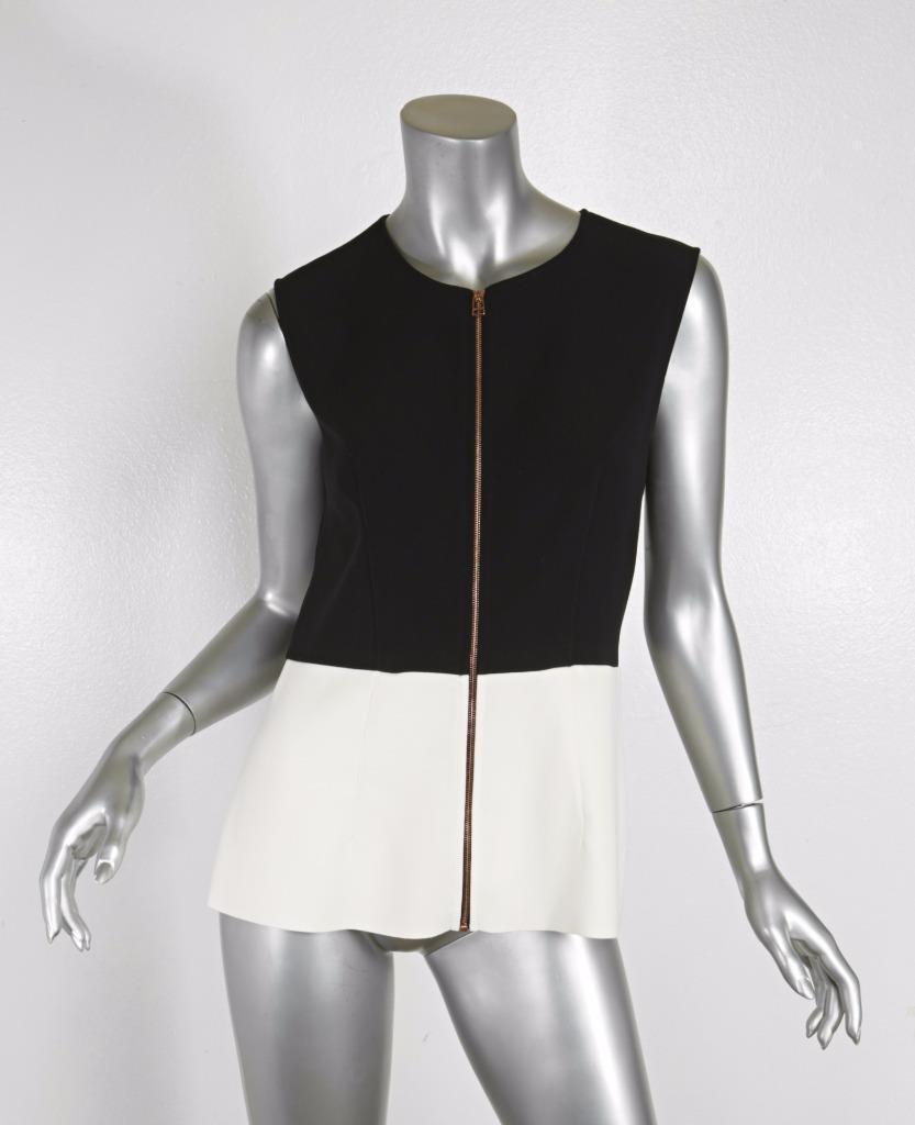 CEDRIC CHARLIER damen schwarz & Weiß Zipper Peplum Sleeveless Top Blouse US 8