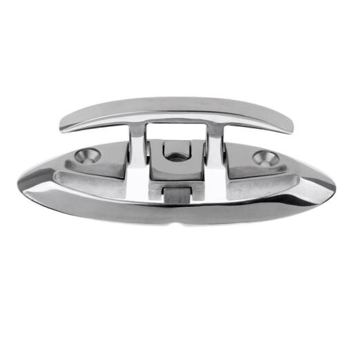 """Heavy Duty 6/"""" Flush Mount 316 Stainless Steel Folding Pull Up Boat Dock Cleat"""