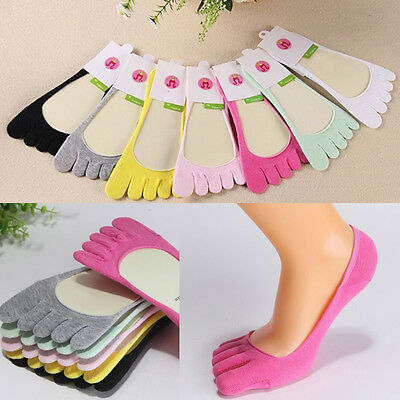 Women's Girl Ankle Five Finger Toe Socks No Show Color Invisible Cotton Hosiery