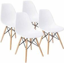 Set of 4 Mid Century Modern DSW Dining Side Chair Wood Legs in White