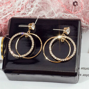 Filled-Fashion-Dangle-Hoop-Silver-Yellow-Earrings-Gold-Drop-Round-Big-Crystal