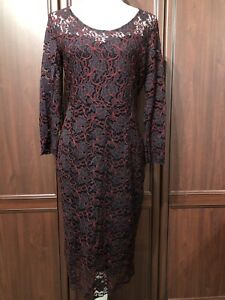 TU-NWT-Lace-Pencil-Dress-Size-12-Xmas-Party-Evening-Occasion-Cruise-Black-Red