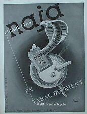 PUBLICITE CIGARETTES NAJA TABAC D'ORIENT SERPENT DESSIN SIGNE SEPO DE 1939 AD