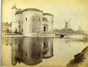 BELGIQUE-BRUGES-scene-de-genre-porte-St-Croix-moulin-Mill-photo-vintage-1880