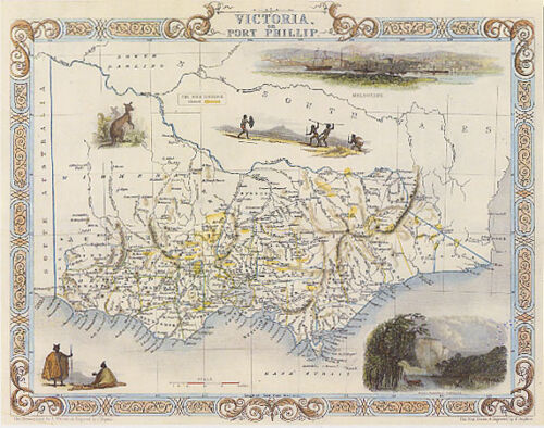 1800/'S MAP AUSTRALIA VICTORIA PORT FILLIP BAY KANGOROO AUSTRALIAN REPRO POSTER