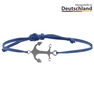 Armband Anker silber Stoffband blau Herren Männer Damen Frauen Unisex