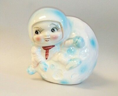Rare 1960's Inarco Blue Baby Astronaut On The Moon Planter To Rank First Among Similar Products So Cute