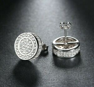 ATOP-Men-039-s-Pave-CZ-Flat-Screen-12mm-Round-Circle-Hip-Hop-Screw-Stud-Earrings