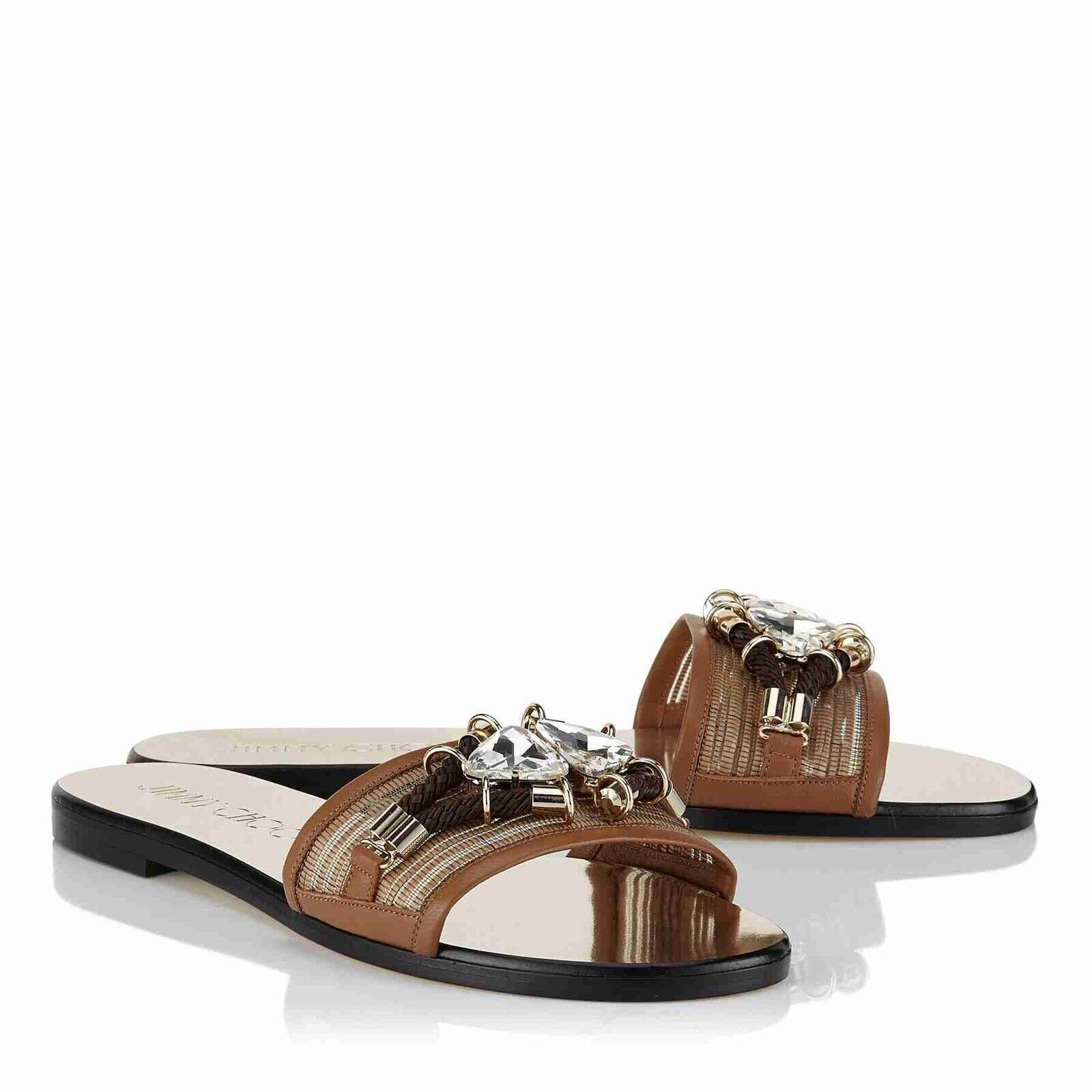 JIMMY CHOO 'Whisp' Tan Canyon Leather Slide Sandals Mules Größe Uk 2.5 Eu 35.5