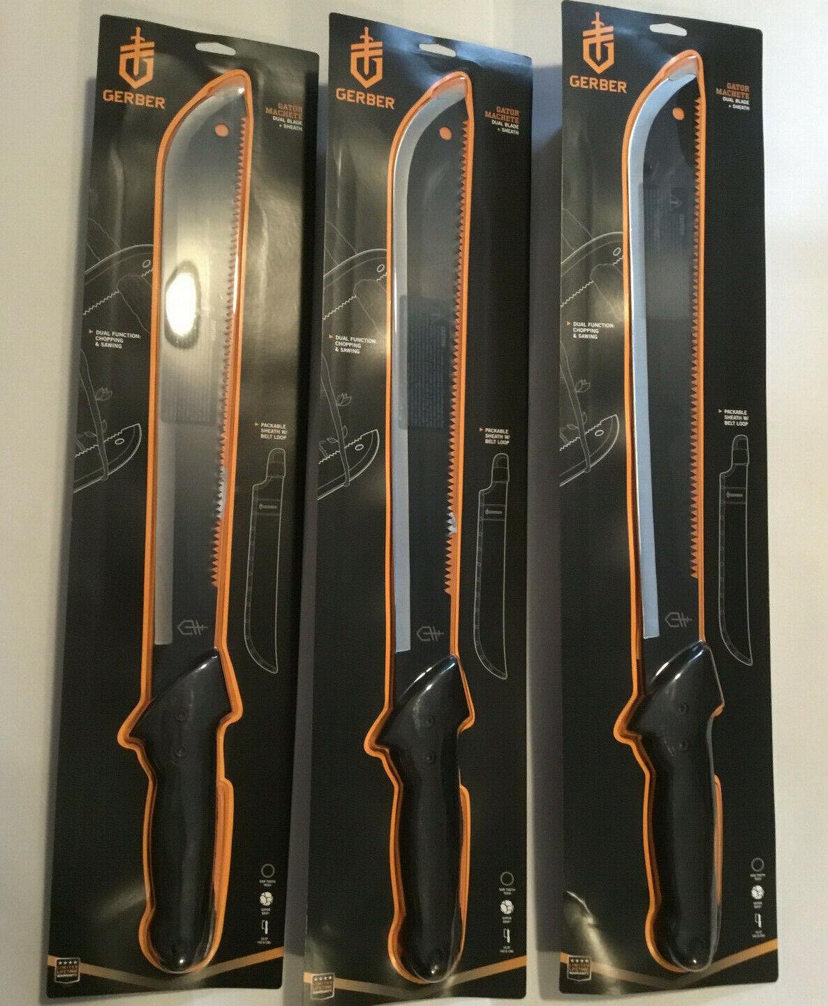 3 - Gerber  Gator Machete Dual Blade & Sheath 31-000758  fishional store for sale