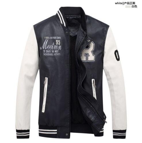 Hot Men/'s Baseball Leather Jacket Collar Slim PU coat Outerwear Casual overcoat